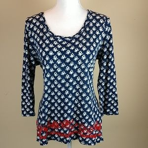 Lucky Brand 3/4 Sleeve Top Sz M